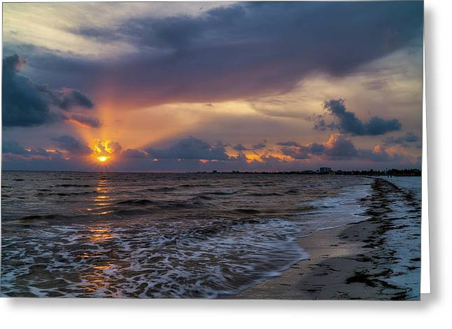 Sunrays Over The Gulf Of Mexico Greeting Card