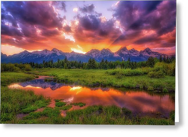 Sunrays Over The Tetons Greeting Card by Darren White