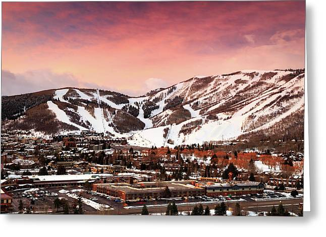 Greeting Card featuring the photograph Sunrise Above Park City Mountain, Utah. by Johnny Adolphson