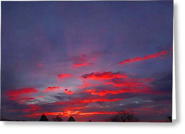 Sunrise Abstract, Red Oklahoma Morning Greeting Card