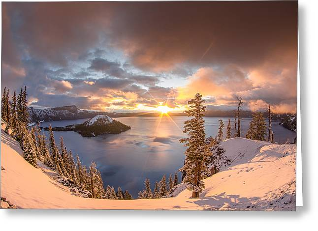 Cascade Greeting Cards - Sunrise after Summer Snowfall Greeting Card by Greg Nyquist