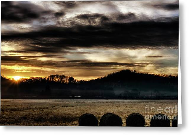 Greeting Card featuring the photograph Sunrise And Hay Bales by Thomas R Fletcher