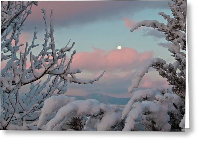 Sunrise And Moon-set Over Lake Boyd Greeting Card