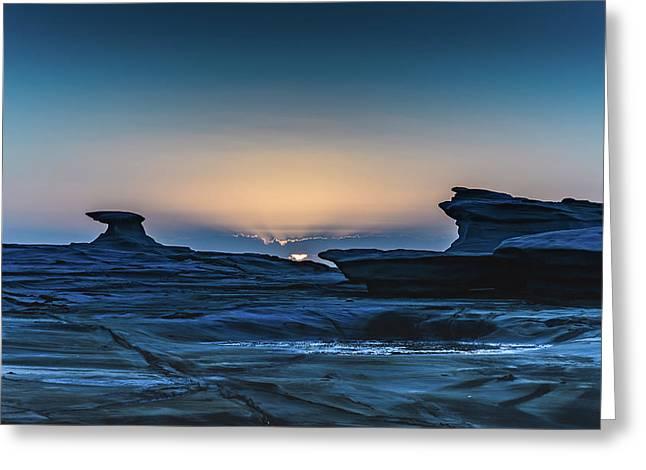 Sunrise And Rock Platform Landscape Greeting Card