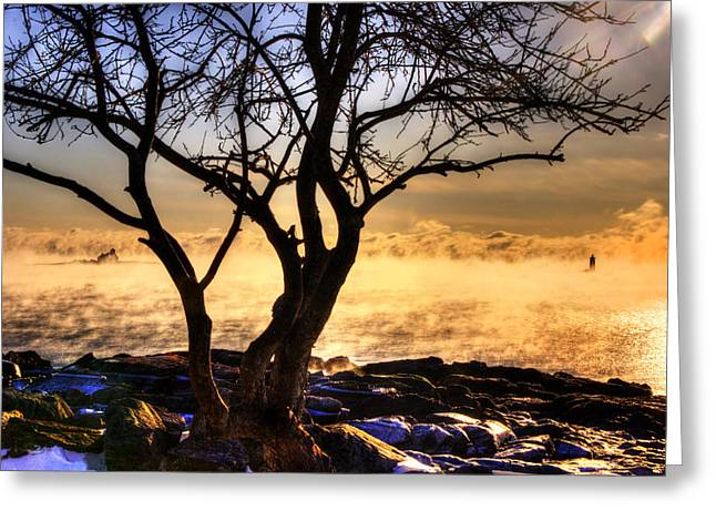 Sunrise And Sea Smoke Over Whaleback Lighthouse And Wood Island Life Saving Station Greeting Card by Joann Vitali