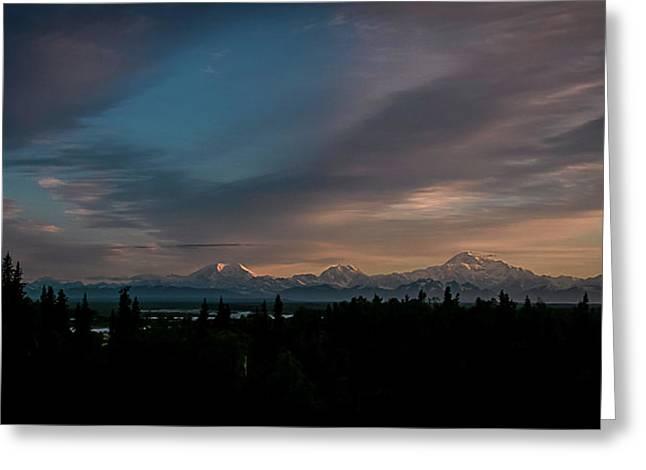 Sunrise And The Alaska Range Greeting Card