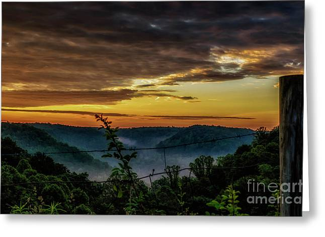 Sunrise And Valley Fog Greeting Card