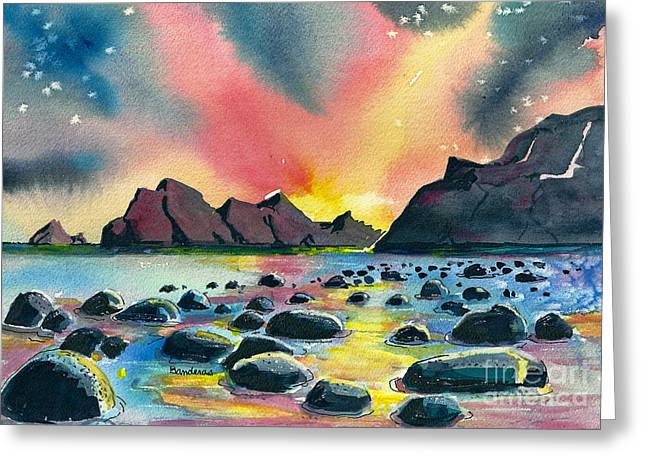 Sunrise And Water Greeting Card