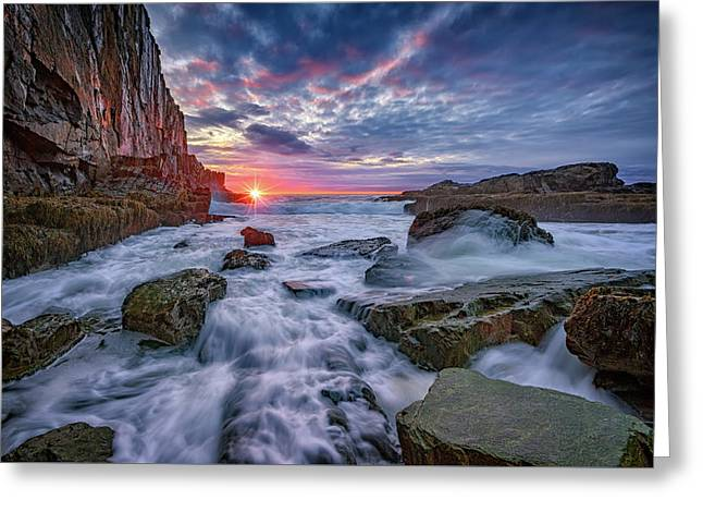 Sunrise At Bald Head Cliff Greeting Card by Rick Berk