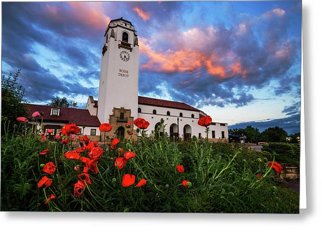 Sunrise At Boise Depot In Boise Idaho Usa Greeting Card by Vishwanath Bhat