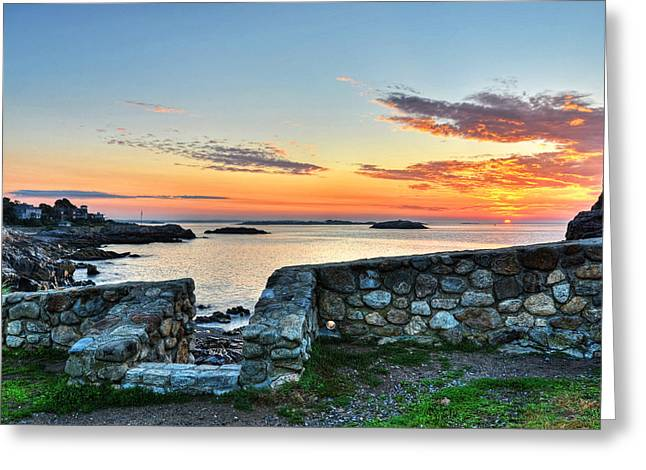 Sunrise At Castle Rock Marblehead Ma Greeting Card