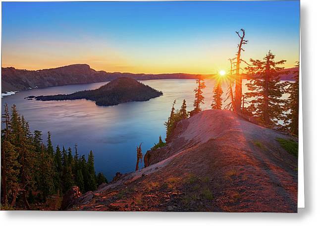 Greeting Card featuring the photograph Sunrise At Crater Lake by John Hight