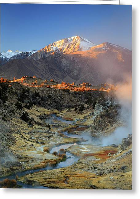 Greeting Card featuring the photograph Sunrise At Hot Creek. by Johnny Adolphson