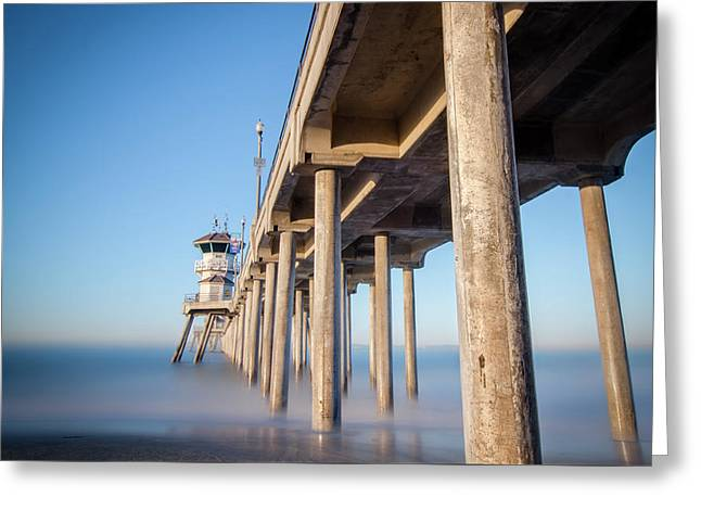 Greeting Card featuring the photograph Sunrise At Huntington Beach Pier by Sean Foster