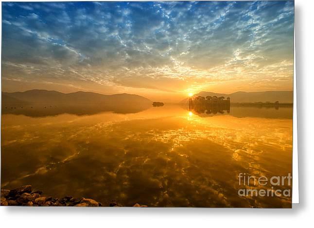 Sunrise At Jal Mahal Greeting Card