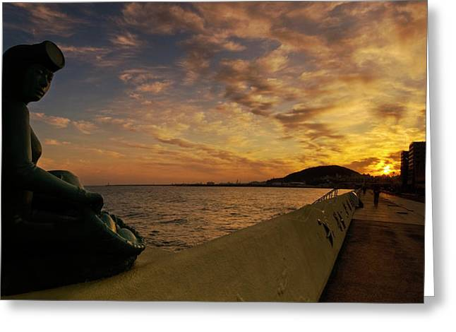 Greeting Card featuring the photograph Sunrise At Jeju Island by Ng Hock How