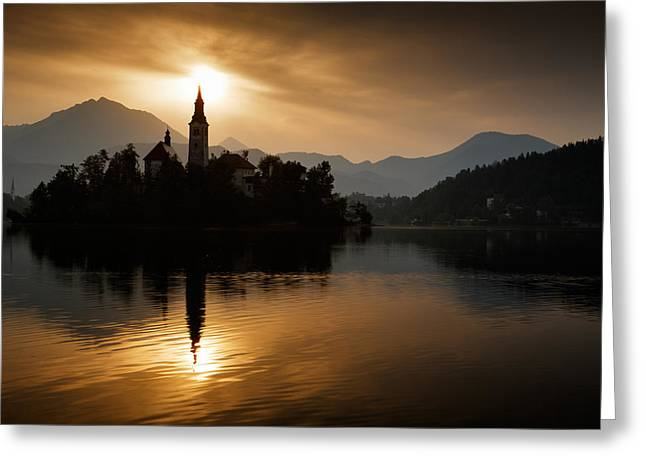 Sunrise At Lake Bled Greeting Card