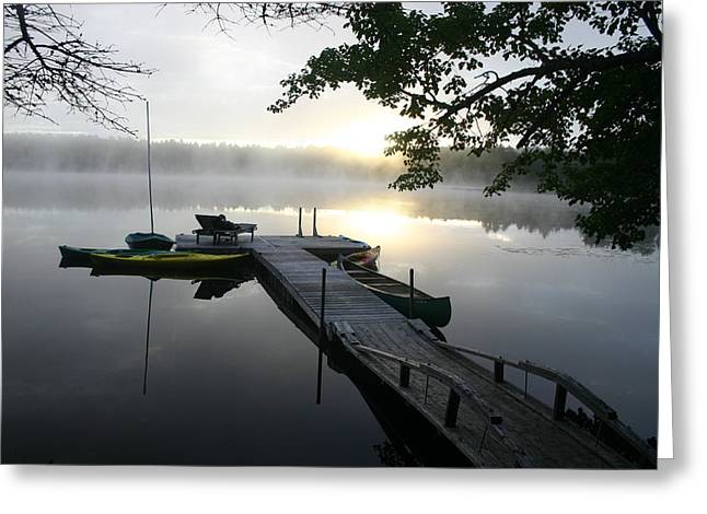 Sunrise At Lake Greeting Card by Dennis Curry