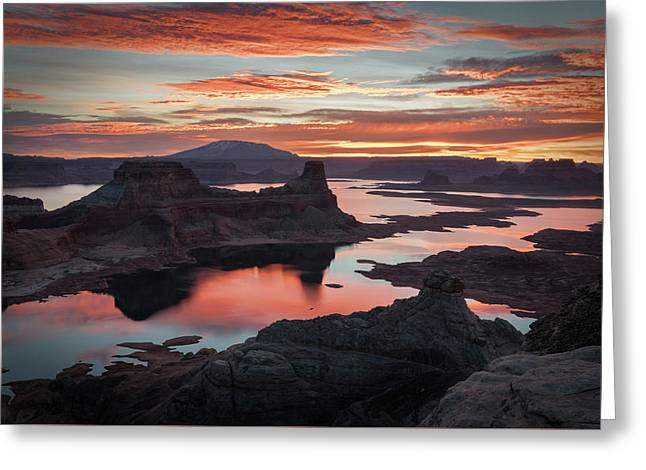Sunrise At Lake Powell Greeting Card by James Udall