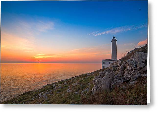 Sunrise At Lighthouse Of Palascia Greeting Card by Angelo Perrone
