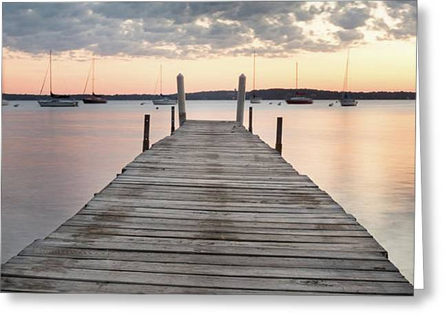 Sunrise At Memorial Union Pier 2.5 To 1 Greeting Card
