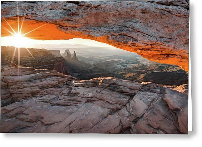 Sunrise At Mesa Arch - Canyonlands National Park Greeting Card by Gregory Ballos