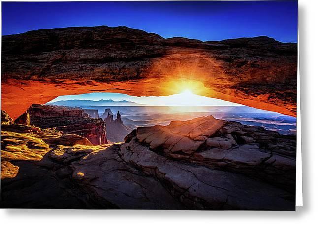 Sunrise At Mesa Arch Greeting Card