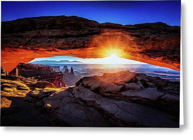 Greeting Card featuring the digital art Sunrise At Mesa Arch by Kevin McClish