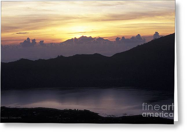Sunrise At Mount Batur Bali Indonesia Greeting Card by Gordon Wood