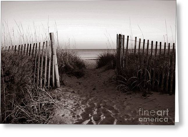 Sand Fences Photographs Greeting Cards - Sunrise at Myrtle Beach SC Greeting Card by Susanne Van Hulst