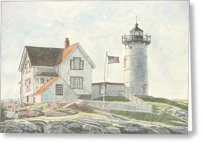 Sunrise At Nubble Light Greeting Card