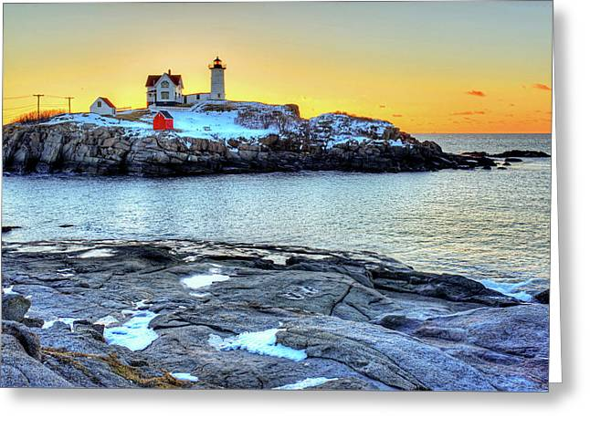 Sunrise At Nubble Light York Me Cape Neddick Greeting Card by Toby McGuire