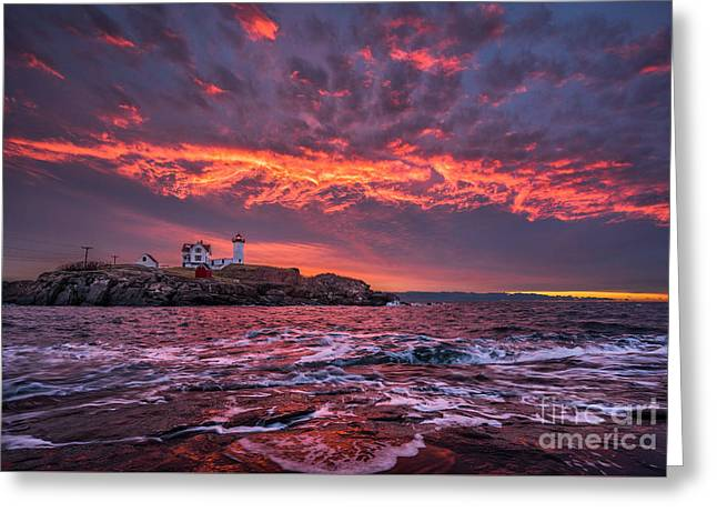 Sunrise At Nubble Lighthouse Greeting Card by Benjamin Williamson