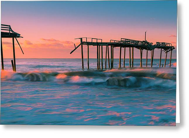 Greeting Card featuring the photograph Sunrise At Outer Banks Fishing Pier In North Carolina Panorama by Ranjay Mitra