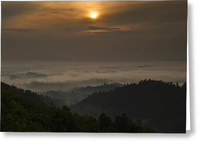 Greeting Card featuring the photograph Sunrise At Panorama Hill by Ng Hock How