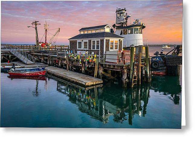 Sunrise At Plymouth Town Wharf - Plymouth, Ma Greeting Card by Sean Sweeney
