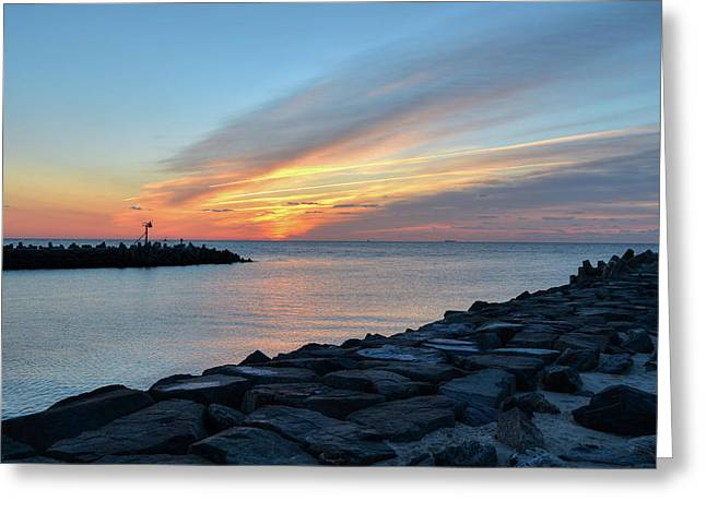 Sunrise At Point Pleasant Inlet Greeting Card