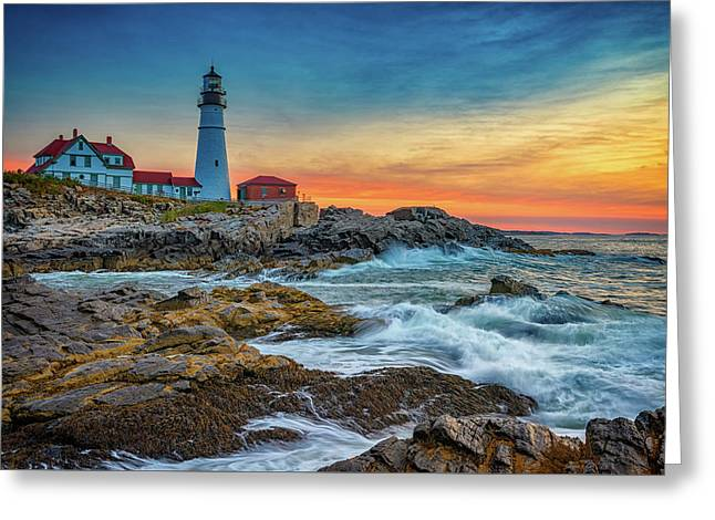 Sunrise At Portland Head Light Greeting Card by Rick Berk