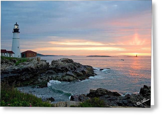 Greeting Card featuring the photograph Sunrise At Portland Head Lighthouse by Alana Ranney