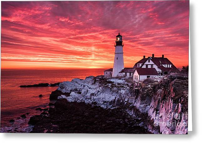 Sunrise At Portland Head Lighthouse Greeting Card by Benjamin Williamson