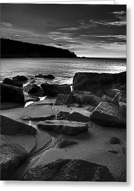Sunrise At Sand Beach Acadia Np Greeting Card by Jim LaMorder