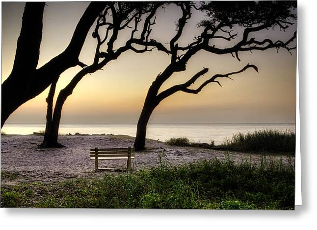 Sunrise At The Bench Greeting Card