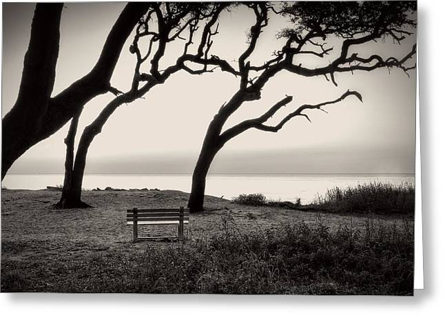 Sunrise At The Bench In Black And White Greeting Card