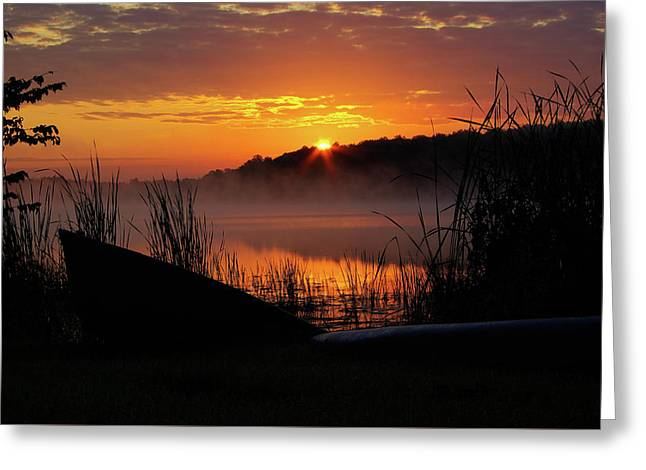 Sunrise At The Boat Launch Greeting Card by Paul Wash