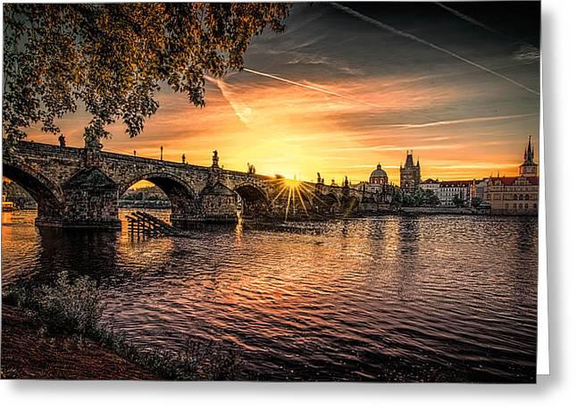 Sunrise At The Charles Bridge Greeting Card