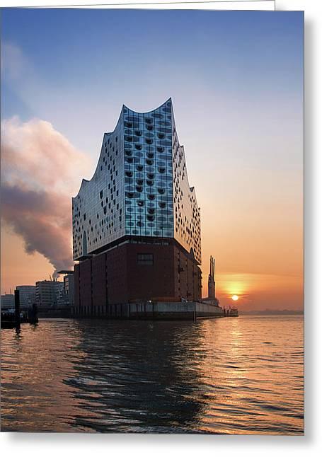 Sunrise At The Elbe Philharmonic Hall Greeting Card