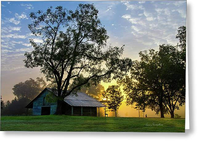 Sunrise At The Farm Greeting Card by George Randy Bass