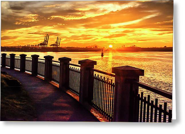 Greeting Card featuring the photograph Sunrise At The Harbor by John Poon