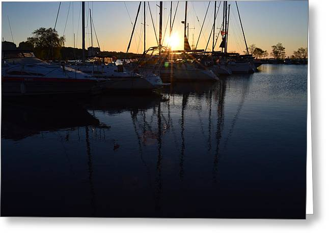 Sunrise At The Marina  Greeting Card by Lyle Crump