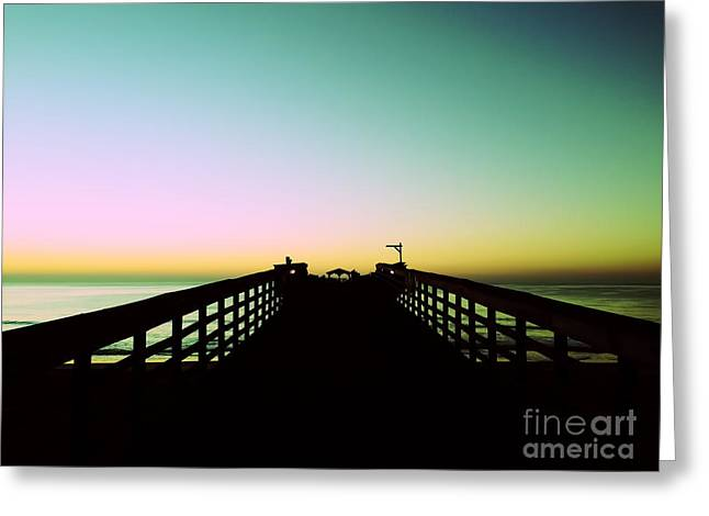 Sunrise At The Myrtle Beach State Park Pier In South Carolina Us Greeting Card by Vizual Studio